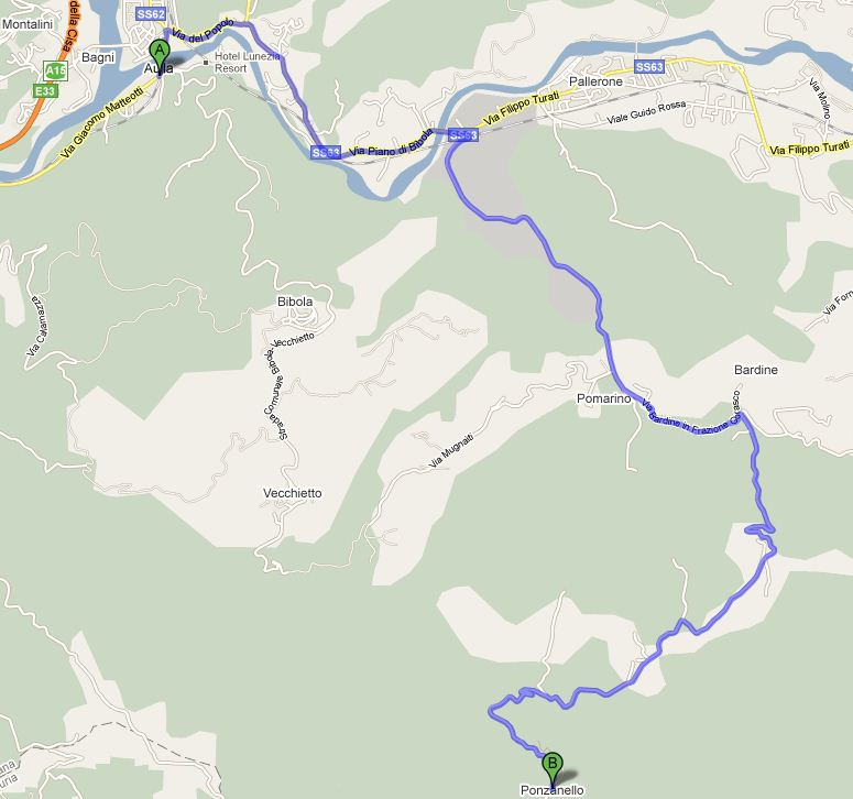 Road Map from Aulla to Ponzanello